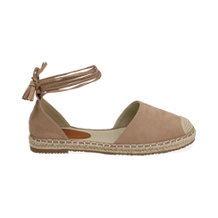 Espadrillas lace-up beige in microfibra, Zapatos, 154933051MFBEIG038, 001 preview