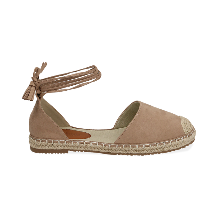 Espadrillas lace-up beige in microfibra, Zapatos, 154933051MFBEIG038