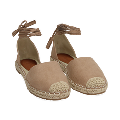 Espadrillas lace-up beige in microfibra, Zapatos, 154933051MFBEIG038, 002 preview