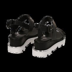 Sandali flat neri in eco-pelle , Scarpe, 132182545EPNERO, 004 preview