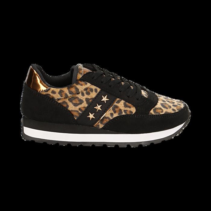 Sneakers leopard marroni in eco-cavallino , Scarpe, 142619079CVMALE