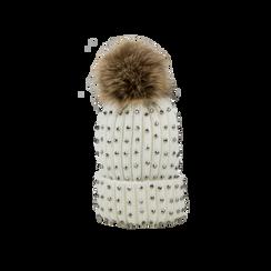 Berretto bianco in lana con strass e pon-pon, Saldi Abbigliamento, 12B409806TSBIAN, 001 preview