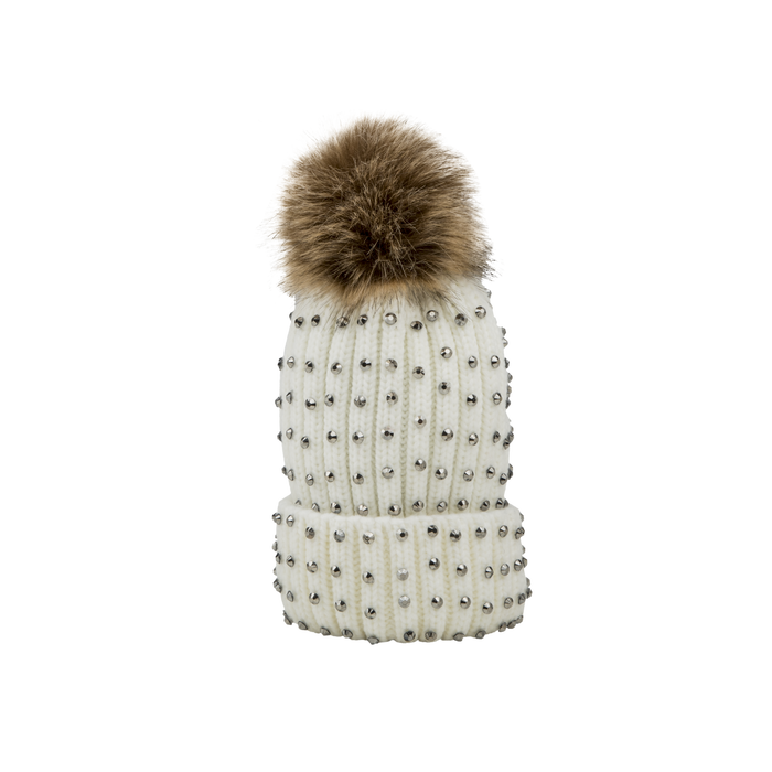 Berretto bianco in lana con strass e pon-pon, Saldi Abbigliamento, 12B409806TSBIAN