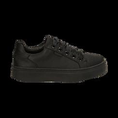 Sneakers nere in tessuto, suola 4 cm, Scarpe, 142509512TSNERO036, 001 preview