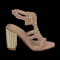 Sandalias en microfibra tachonada color nude, tacón 10 cm , OPORTUNIDADES, 152183131MFNUDE036, 001 preview