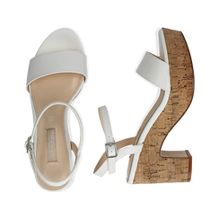 Sandali bianchi in eco-pelle, tacco in sughero 9 cm, Primadonna, 138402256EPBIAN036, 003 preview
