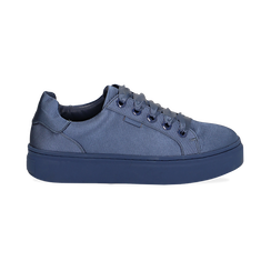 Sneakers celesti in tessuto, suola 4 cm, Scarpe, 142509512TSCELE036, 001 preview