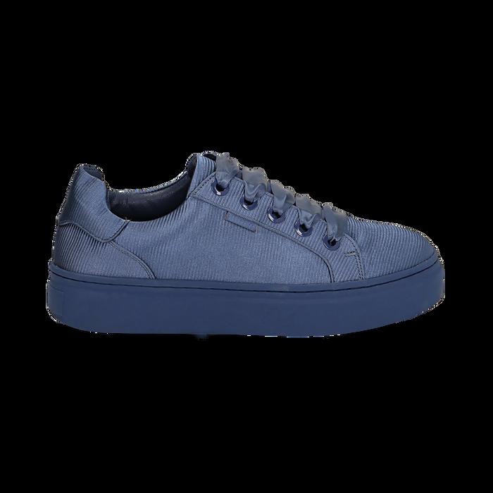 Sneakers celesti in tessuto, suola 4 cm, Scarpe, 142509512TSCELE036