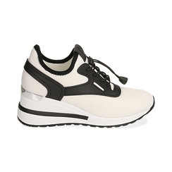 Sneakers bianche in tessuto con zeppa, Primadonna, 152803421TSBIAN036, 001 preview