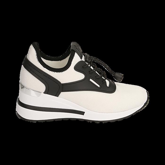 Sneakers bianche in tessuto con zeppa, Primadonna, 152803421TSBIAN036