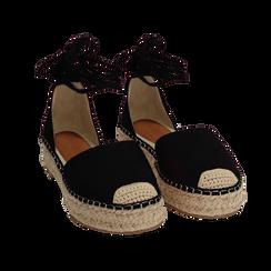 Espadrillas lace-up nere in microfibra, Primadonna, 154930501MFNERO035, 002 preview