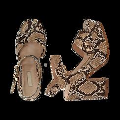 Sandali con plateau beige in eco-pelle, effetto snake skin, tacco 11 cm , Sandali con tacco, 134903269PTBEIG035, 003 preview