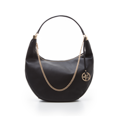 Hobo bag nera in eco-pelle, Borse, 133818123EPNEROUNI, 001 preview
