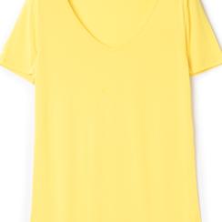 T-shirt con scollo a V gialla in tessuto, Saldi Estivi, 13F750713TSGIALL, 002a