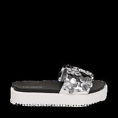 Zeppe argento in laminato con fiori 3D, Primadonna, 112066213LMARGE035, 001a
