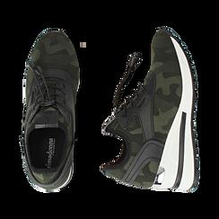 Sneakers en tejido con cuña color camuflaje, Primadonna, 152803421TSMILI037, 003 preview