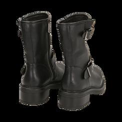 Biker boots con fibbie neri in eco-pelle, tacco 4,5 cm , Stivaletti, 14A702711EPNERO035, 004 preview