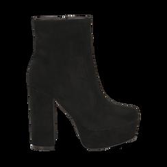 Ankle boots neri con plateau, tacco 13 cm , Scarpe, 144894159MFNERO036, 001a