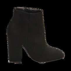 Ankle boots a punta neri in microfibra, tacco 10,5 cm , Primadonna, 142196916MFNERO041, 001a