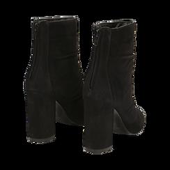 Ankle boots neri in camoscio, tacco 10 cm , Stivaletti, 14D601211CMNERO035, 004 preview