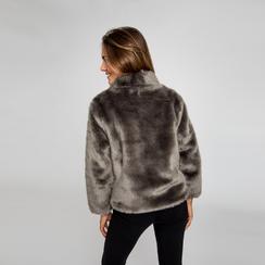 Pelliccia grigia corta eco-fur, manica lunga, Saldi, 12B432301FUGRIGL, 003 preview