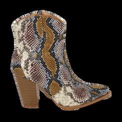 Santiags bleu/beige en simili-cuir imprimé serpent, talon 9 cm, Chaussures, 154930037PTBLBE036, 001a