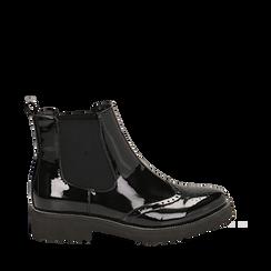 Chelsea boots neri in vernice con lavorazione Duilio, Scarpe, 143055702VENERO036, 001a
