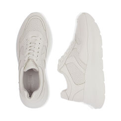 Baskets blanches compensées 6 cm, CHAUSSURES, 172832122EPBIAN040, 003 preview