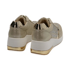 Sneakers en laminado con cuña color dorado , Zapatos, 152802472LMOROG037, 004 preview