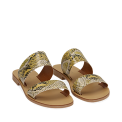 Mules flat gialle in vernice effetto snake skin, Primadonna, 136767003PTGIAL035, 002a