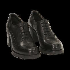 Stringate nere in pelle, tacco 7,50 cm , Primadonna, 167734407PENERO036, 002 preview