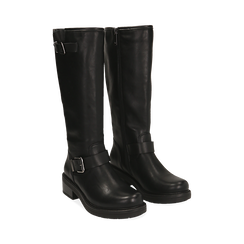 Biker boots con fibbie neri in eco-pelle, tacco 4,5 cm , Scarpe, 14A702710EPNERO035, 002 preview