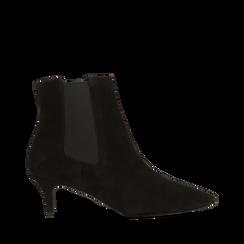 Stivaletti Chelsea neri in vero camoscio, tacco midi 6 cm, Primadonna, 12D618401CMNERO036, 001a