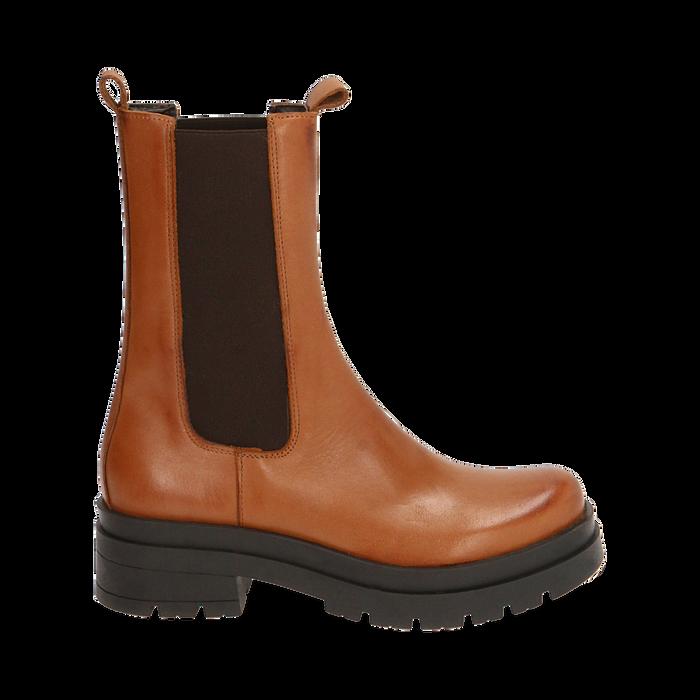 Chelsea boots cognac in pelle, Primadonna, 167277044PECOGN035