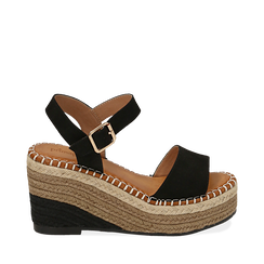 Sandali neri in microfibra, zeppa 9 cm , Primadonna, 154907131MFNERO035, 001a