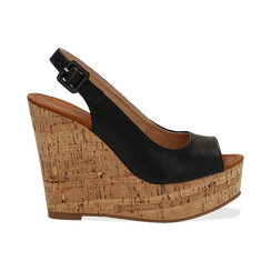 Sandali neri in eco-pelle, zeppa 12 cm , Scarpe, 154907982EPNERO036, 001 preview