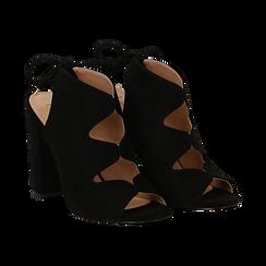 Sandali neri in microfibra con allacciatura alla caviglia, tacco 10,5 cm,