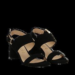 Sandali neri in microfibra con doppia fascia, tacco 7 cm , Scarpe, 132182481MFNERO036, 002a
