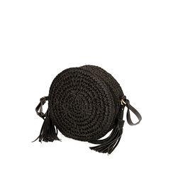 Bolso pequeño de rafia negra, Primadonna, 175123102RFNEROUNI, 002a