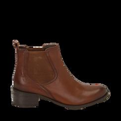 Chelsea boots cuoio in vera pelle, tacco 4,5 cm , Stivaletti, 149495764PECUOI035, 001a