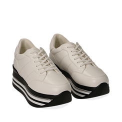 Sneakers platform bianche in eco-pelle, 149361611EPBIAN035, 002a