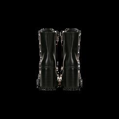 Anfibi neri con suola in gomma, tacco alto, Scarpe, 129316652EPNERO, 003 preview