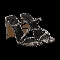 Sandali con punta quadrata nero/bianchi in eco-pelle, effetto snake skin, tacco 10 cm, Sandali con tacco, 131785322PTNEBI035, 002 preview