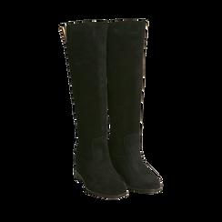 Stivali neri in camoscio con decoro metallico, Primadonna, 16A500090CMNERO036, 002a
