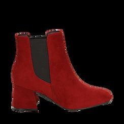 Ankle boots bordeaux in microfibra, tacco trapezio 6 cm , Stivaletti, 142707127MFBORD036, 001a