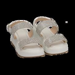 Sandali bianchi in microfibra, zeppa 4,50 cm , Scarpe, 154991102EPBIAN036, 002 preview