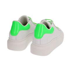 Sneakers bianco/verde in pelle, Primadonna, 17L600102PEBIVE035, 004 preview