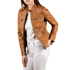 Biker jacket cuoio in eco-pelle, NUOVI ARRIVI, 156501203EPCUOIL, 001 preview