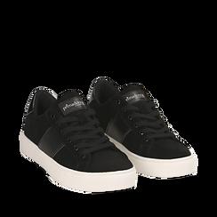 Sneakers nere in microfibra, Scarpe, 142619071MFNERO035, 002a