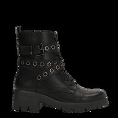 Anfibi neri con mini-oblò alla caviglia, Primadonna, 129328613EPNERO035, 001a